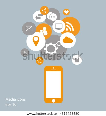 Flat mobile phone vector with social media icons yellow, vector eps 10 - stock vector