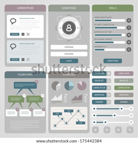 Flat Mobile UI Design.  Flat icons and ui web elements for mobile app and website design. Eps 10. - stock vector