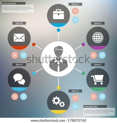 Flat Mobile UI Design. Presentation template with six options. Vector illustration. Eps 10 - stock vector
