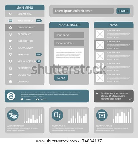 Flat Mobile UI Design. Vector eps 10.