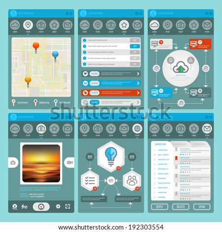 Flat Mobile UI Design. Web design elements. Vector set of various elements used for user interface projects. Eps 10 - stock vector