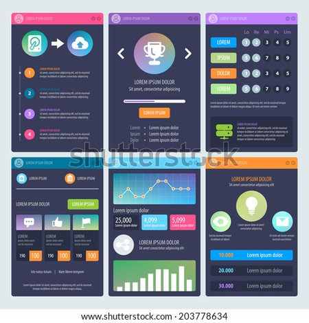 Flat Mobile UI Design. Web design elements. Vector set of various elements used for user interface projects. Eps 10