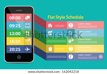 Flat Mobile Web UI Concept for mobile or tablet web applications - stock vector