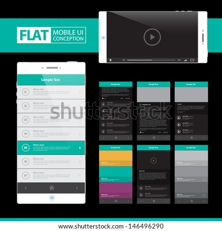 Flat Mobile Web UI Concept for mobile or tablet web applications / EPS10 Vector Illustration / can be use for web design, web elements, infographics, banners, advertising, applications / - stock vector