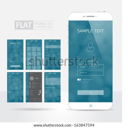Flat Mobile Web UI with Smartphone Concept  / EPS10 Vector Illustration / - stock vector