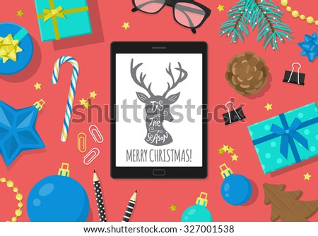 Flat modern Christmas banner design with digital tablet and Christmas decorations. Vector illustration - stock vector