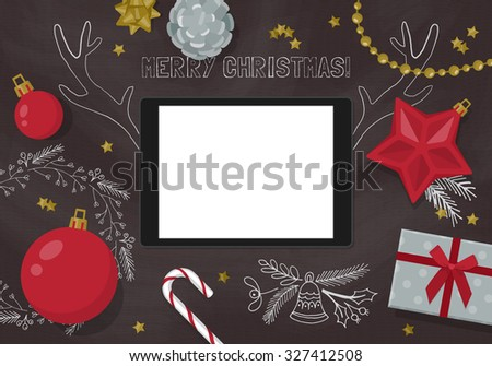 Flat modern Christmas banner design with digital tablet and decorations on chalkboard. Vector illustration - stock vector