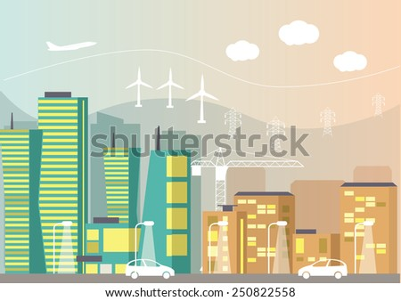 Flat modern city and transport. Vector illustration - stock vector