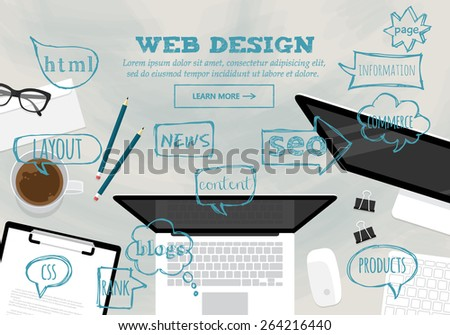 Flat modern design concept for web design website banner - stock vector