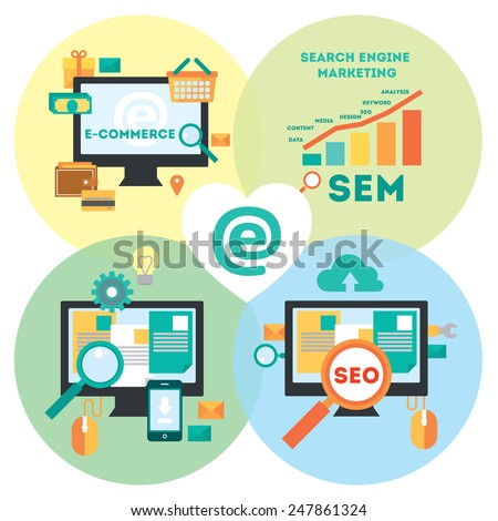 Flat modern design elements about Search Engine Marketing and Search Engine Optimization process.Tools of search internet marketing. Vector illustration. Round background - stock vector