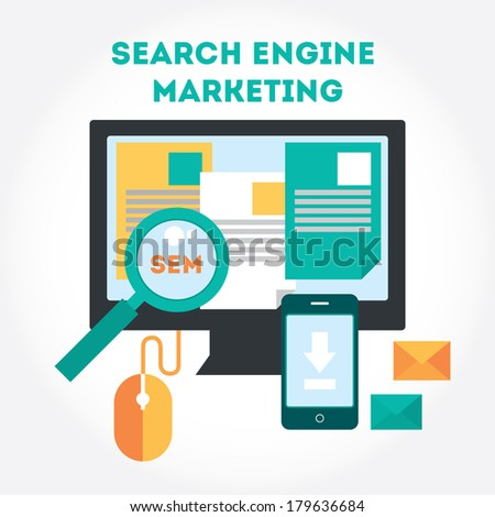 Flat modern design elements about Search Engine Marketing process.Tools of search internet marketing. Vector illustration