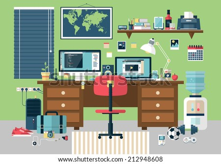 Flat modern design vector illustration concept of creative office room interior workspace, workplace. Icon collection stylish colors business work flow items elements, things, equipment, objects - stock vector