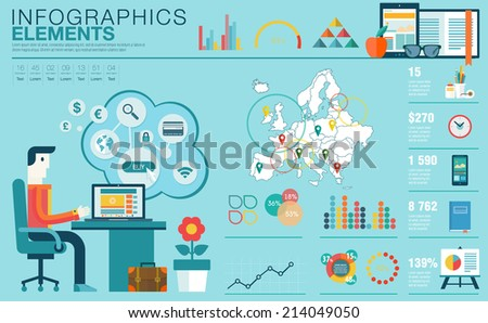 Flat modern design vector illustration concept of creative office workspace, workplace. Icon collection in stylish colors of business work flow item, elements. Infographics elements with Europe map - stock vector