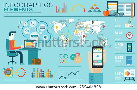 Flat modern design vector illustration concept of creative office workspace, workplace. Icon collection in stylish colors of business work flow items, elements. Infographics elements with World map - stock vector