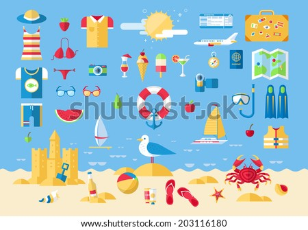 Flat modern design vector illustration concept of planning a summer vacation, travel on holiday journey, tourism stuff and travel objects, passenger luggage and equipment. Icons collection set. - stock vector