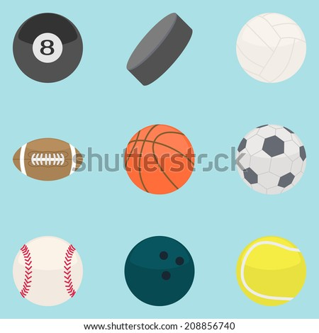 Flat modern design vector illustration concept of sports Equipment. Icon collection.
