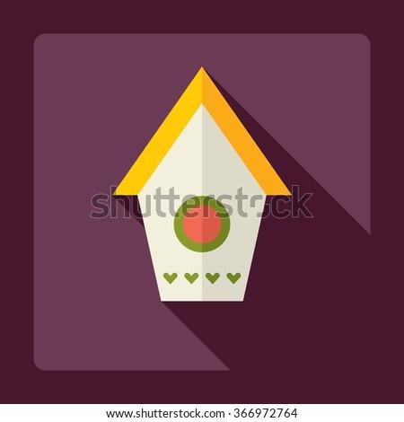 Flat modern design with shadow Icon  bird house - stock vector