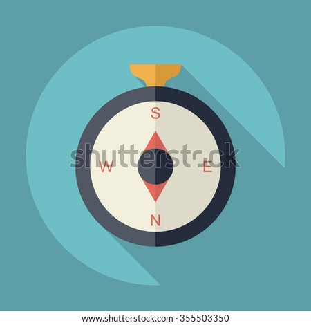 Flat modern design with shadow Icon  compass - stock vector