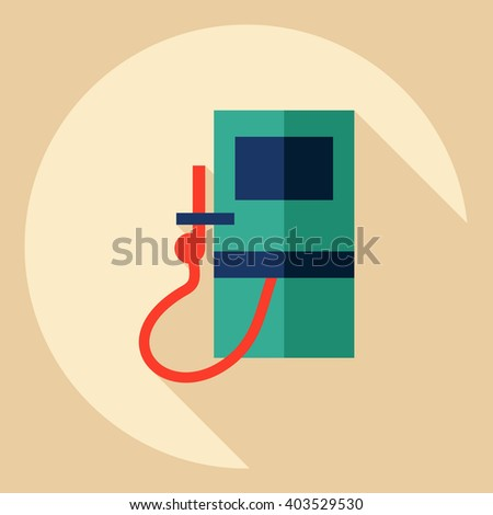 Flat modern design with shadow  Icon gas station - stock vector