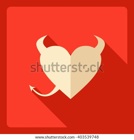 Flat modern design with shadow  Icon heart-devil