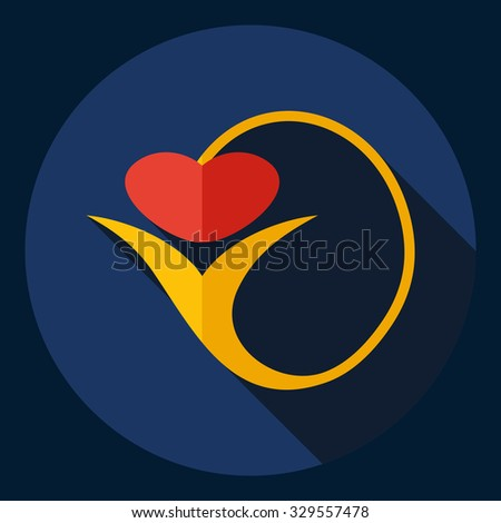 Flat modern design with shadow  Icon heart organ - stock vector