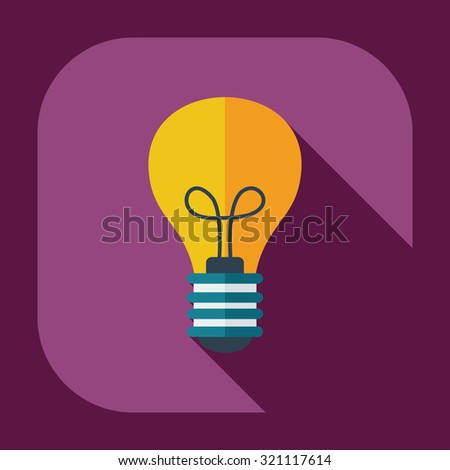 Flat modern design with shadow  Icon lightbulb - stock vector
