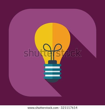 Flat modern design with shadow  Icon lightbulb - stock vector