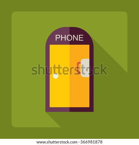Flat modern design with shadow Icon  phone booth