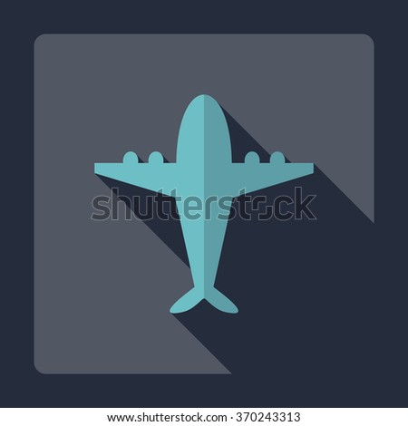 Flat modern design with shadow Icon  plane aircraft