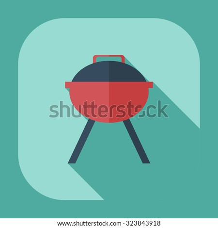 Flat modern design with shadow icons barbecues