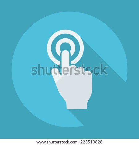 Flat modern design with shadow icons for web design and mobile applications, SEO. search Engine Optimization: hand pointer - stock vector