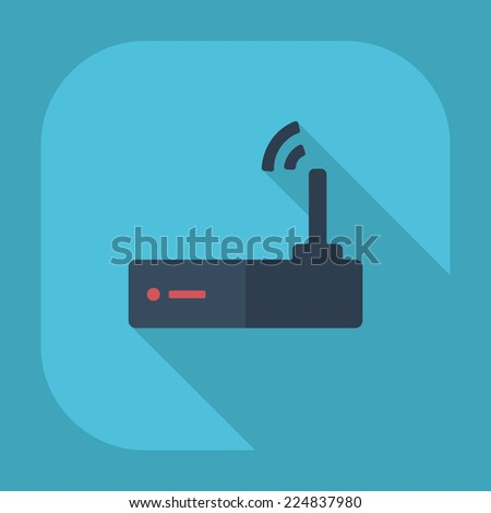 Flat modern design with shadow icons for web design and mobile applications, SEO. search Engine Optimization: Internet Wi fi router - stock vector
