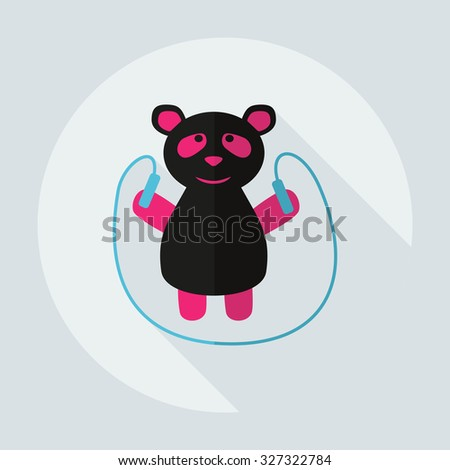 Flat modern design with shadow icons panda athlete