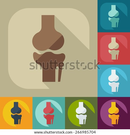 Flat modern design with shadow knee-joint - stock vector