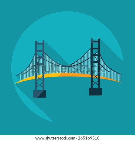 Flat modern design with shadow San Francisco Golden Gate bridge - stock vector