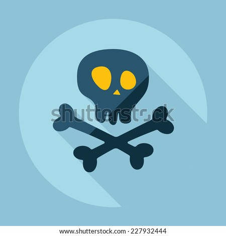Flat modern design with shadow, SEO. Icons mobile applications and web design. Working optimization:  skull and crossbones - stock vector