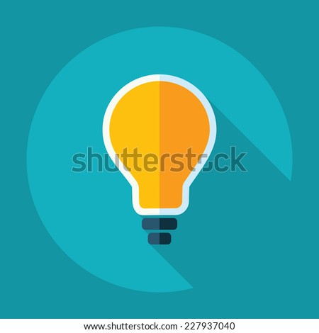 Flat modern design with shadow, SEO. Icons mobile applications and web design. Working optimization:  bulb - stock vector