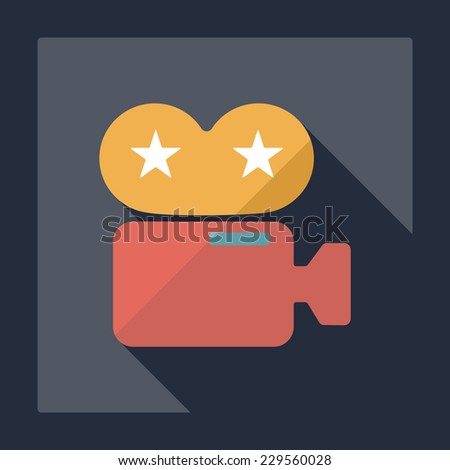 Flat modern design with shadow, SEO. Icons mobile applications and web design. Working optimization:  camcorder - stock vector