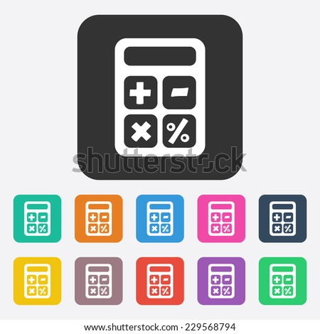 Flat modern design with shadow, SEO. Icons mobile applications and web design. Working optimization:  calculator - stock vector