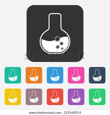 Flat modern design with shadow, SEO. Icons mobile applications and web design. Working optimization: chemical flask - stock vector