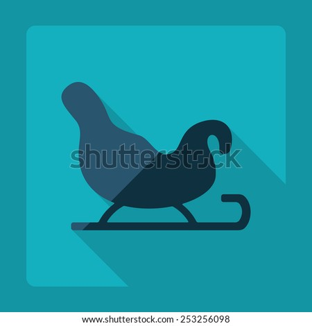 Flat modern design with shadow, sleigh of Santa Claus - stock vector