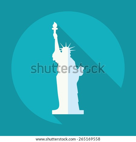 Flat modern design with shadow statue of liberty - stock vector