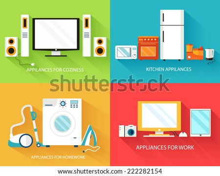 Flat modern home electronics appliances set icons concept. Vector illustration design - stock vector