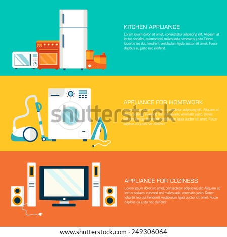 Flat modern home electronics appliances tehnology icons concept.  Template headline banner and header element. Vector illustration designa - stock vector