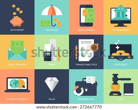 Flat modern icons for banking, finance and business. Elements for graphic and web design - stock vector