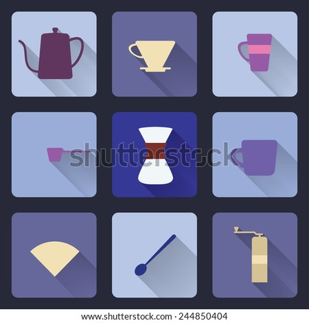 Flat modern icons for coffee shop. Brewing coffee by pour over method. Long shadow.