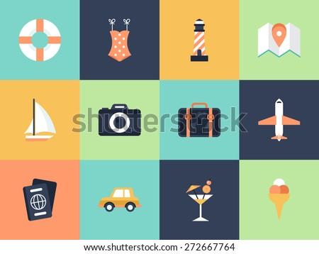 Flat modern icons for summer holiday vacation concept. Elements for graphic and web design - stock vector