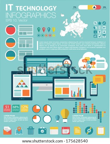 Flat modern infographics set and icons IT tehnology. Europe Map, Flat Icon and Information Graphics - stock vector