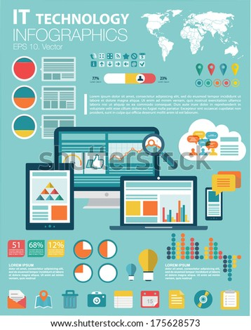 Flat modern infographics set and icons IT tehnology. World Map, Flat Icon and Information Graphics