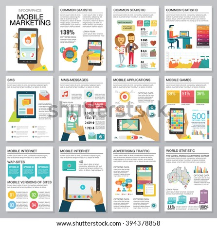Flat modern infographics set with charts, icons, map, diagrams, other elements. Design style concept of digital advertising technologies on mobile devices. People use smartphone. Vector illustration. - stock vector